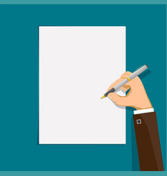 Human hand writes with a pen on a sheet paper vector