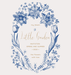 Invitation with tulips rose hips vector