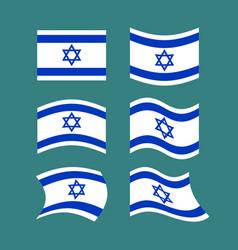 israel flag set israeli banner ribbon jewish vector image