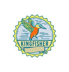 Kingfisher side rosette retro vector