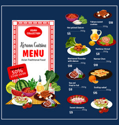 Korean cuisine traditional dishes vector