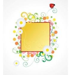 ladybird and daisy frame vector image vector image