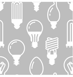 light bulbs seamless pattern with flat glyph icons vector image