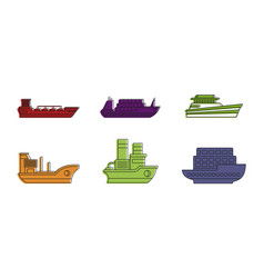 load ship icon set color outline style vector image