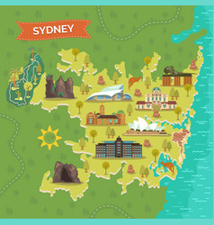 Map of sydney with landmarks for sightseeing vector