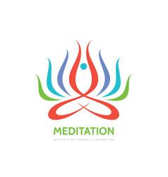 meditation yoga - logo template concept vector image