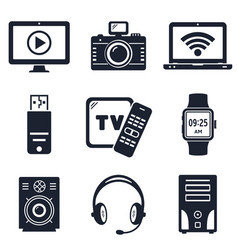 modern devices and electronic gadgets icons vector image