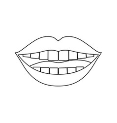 Monochrome silhouette of smiling mouth vector