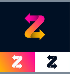 monogram z arrows letter with directions vector image