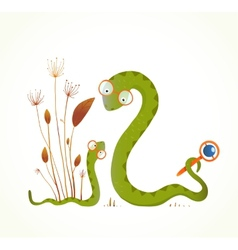 Mother snail with rattle and baby childish animal vector