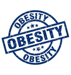 Obesity blue round grunge stamp vector