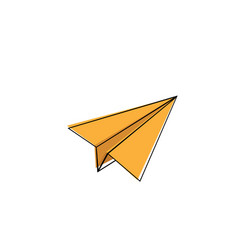 Paper airplane icon yellow on a white background vector