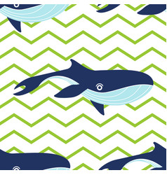pattern with whales on stripes vector image