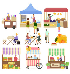 People buying products on marketplace fair vector