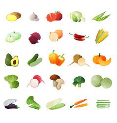 Polygonal vegetables icon set vector