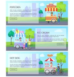 Popcorn ice cream collection vector