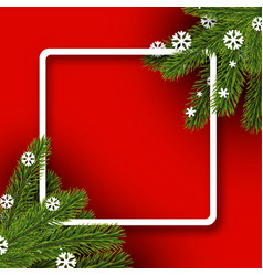 red winter background with spruce branches vector image