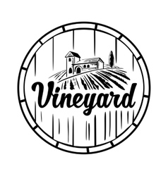 Rural landscape with villa vineyard wooden vector