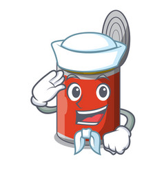 Sailor character canned food isolated on cartoon vector