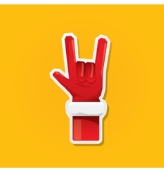 Santa Claus hand rock n roll icon vector