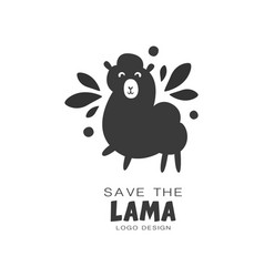 Save the lama logo design protection of wild vector