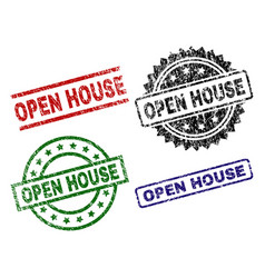 Scratched textured open house stamp seals vector