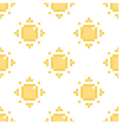 seamless pattern background with pixel sun vector image