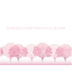 Seamless row cherry blossom trees in full bloom vector