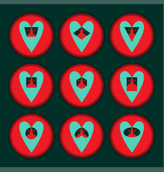 Set hearts red turquiose vector