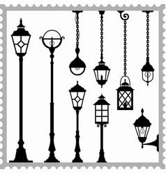 Set lanterns silhouettes vector