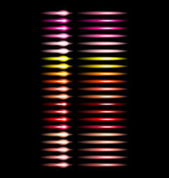 set multicolored glowing light bulbs vector image