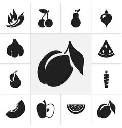 set of 12 editable berry icons includes symbols vector image