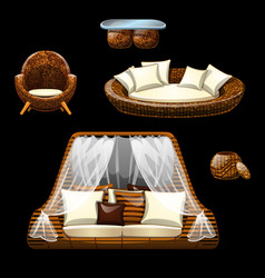 Set of wicker furniture on black background vector