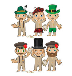 Set of young men in various hats isolated on white vector