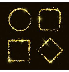 Shiny golden glitter frames for holiday designs vector