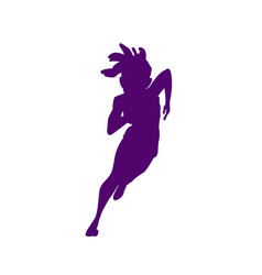 Silhouetted female athletes that are running on a vector