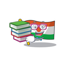Smart student flag niger scroll mascot cartoon vector