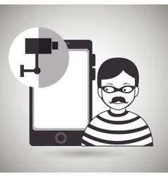smartphone security protection hacker vector image