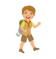 Smiling boy scout carrying a tourist backpack a vector