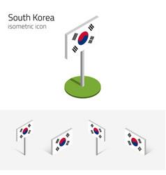 South korea flag set 3d isometric icons vector