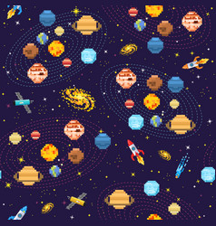 Space seamless pattern background alien spaceman vector