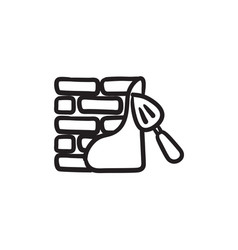 Spatula with brickwall sketch icon vector