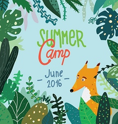 Summer forest camp banner or placard vector image