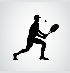 tennis player black silhouette on white vector image