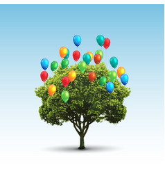 Tree and balloons vector