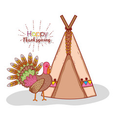 Turkey animal and indigenous camping tent vector