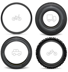 vehicle tires with line icons vector image