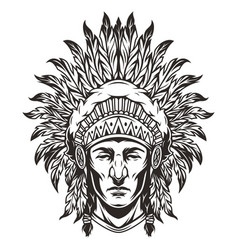 vintage monochrome indian chief head vector image