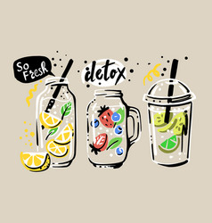 water with fruit detox on beige background vector image