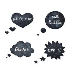watercolor hand drawn talk bubbles silhouettes vector image